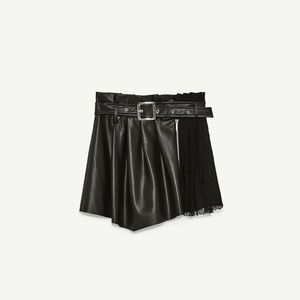 Zara Basic Faux-Leather Skort w/ Belt & Lace